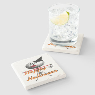 Happy Halloween Golf Cartoon Stone Beverage Coaster