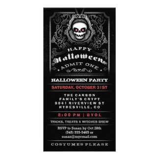 Happy Halloween Gothic Skull Admit One Invitation Picture Card