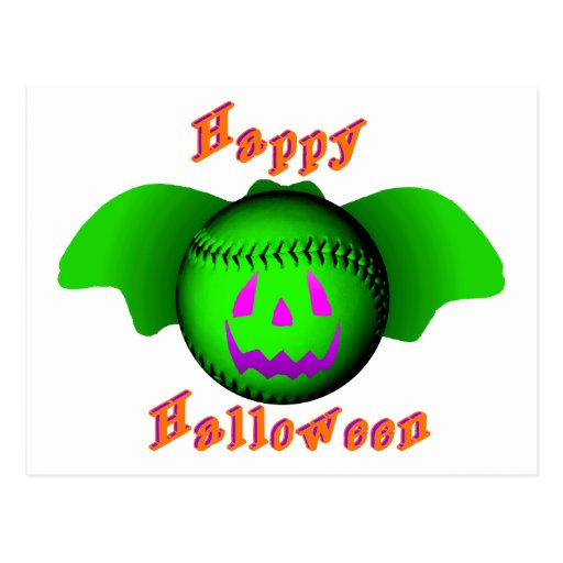 Happy Halloween Green Baseball Bat Postcards