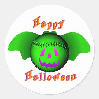 Happy Halloween Green Baseball Bat Round Sticker