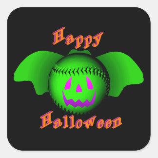 Happy Halloween Green Baseball Bat Square Sticker