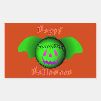 Happy Halloween Green Baseball Bat Rectangular Sticker