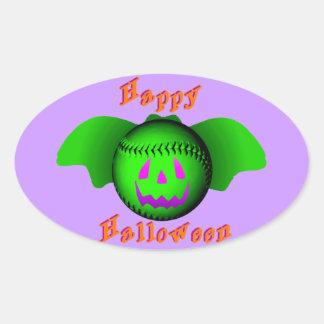 Happy Halloween Green Baseball Bat Oval Sticker