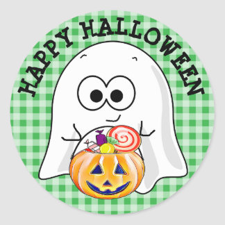 Happy Halloween Green Gingham Ghost Stickers