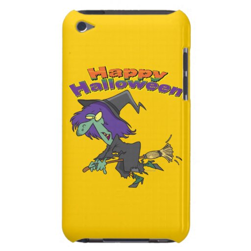 happy halloween green witch cartoon barely there iPod case