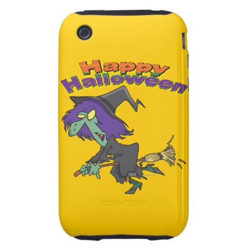 happy halloween green witch cartoon iPhone 3 tough cases