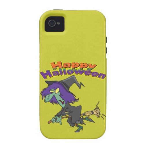 happy halloween green witch cartoon iPhone 4/4S case