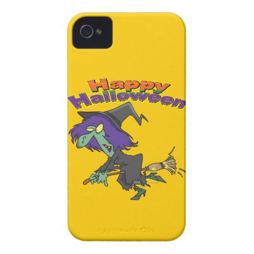 happy halloween green witch cartoon iPhone 4 Case-Mate cases