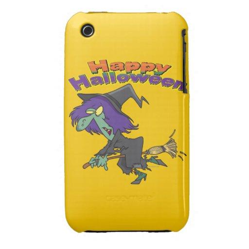 happy halloween green witch cartoon iPhone 3 case