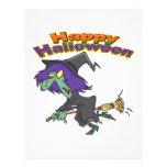 happy halloween green witch cartoon flyer