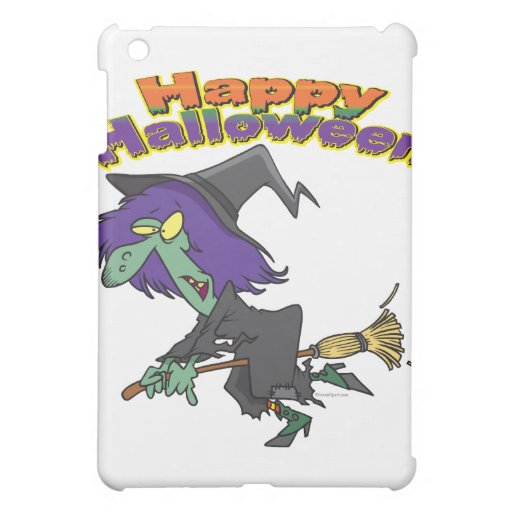 happy halloween green witch cartoon iPad mini covers