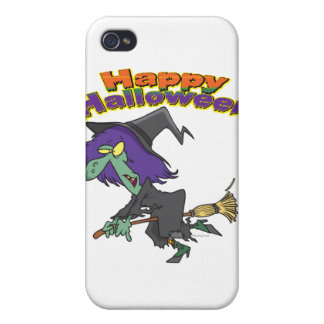 happy halloween green witch cartoon case for iPhone 4