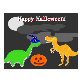Happy Halloween Greetings Dinosaurs Postcard
