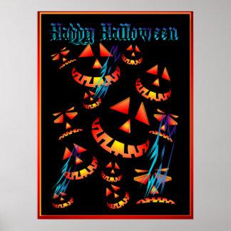 Happy Halloween Grinning Pumpkins..Posters