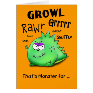 Happy Halloween Growling Monster Card