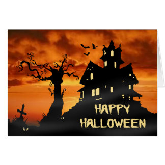 Happy Halloween Haunted House Card