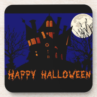 Happy Halloween Haunted House Drink Coasters