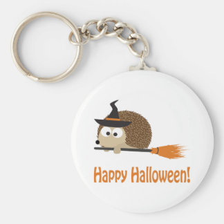 Happy Halloween! Hedgehog Witch Basic Round Button Key Ring