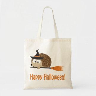 Happy Halloween Hedgehog Witch Canvas Bag