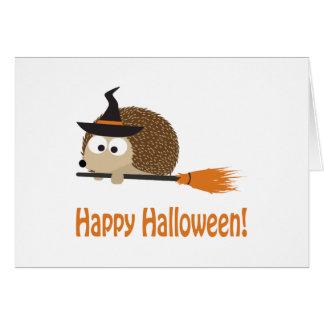 Happy Halloween Hedgehog Witch Greeting Card