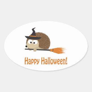 Happy Halloween Hedgehog Witch Oval Sticker