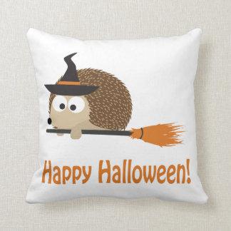 Happy Halloween Hedgehog Witch Throw Pillow