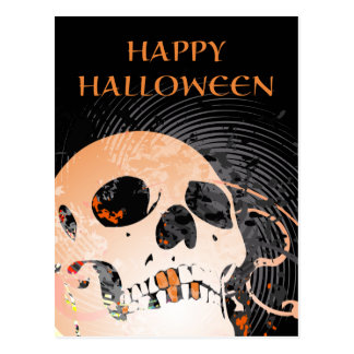 happy halloween hi-fi skull 2 postcard
