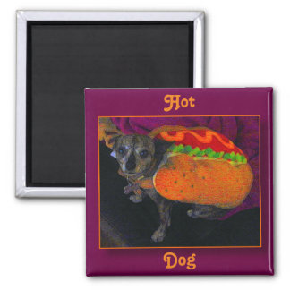 Happy Halloween Hot Dog Square Magnet