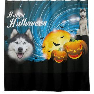 Happy Halloween Husky Shower Curtain