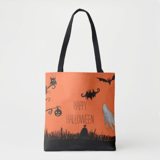 Happy Halloween Illustration Tote Bag