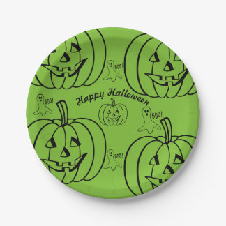 Happy Halloween - Jack 0 Lantern Ghost Paper Plate