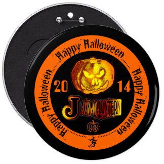 Happy Halloween Jack O Lantern 2014 Black & Orange 6 Cm Round Badge