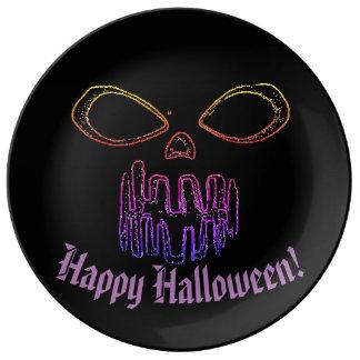 Happy Halloween & Jack-o-lantern Plate