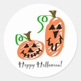 Happy Halloween Jack-O-Lantern Pumpkin Stickers