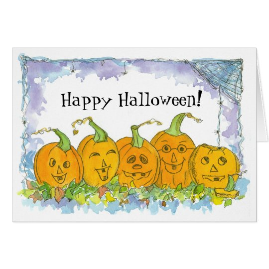 Happy Halloween Jack-O-Lantern Pumpkins Card