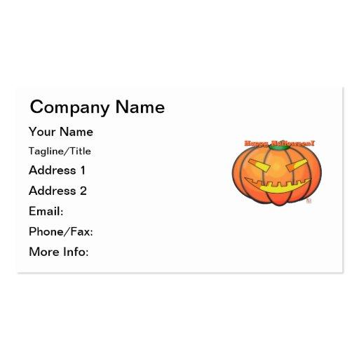 Happy Halloween Jack O' Lantern Smiling Pumpkin Business Cards
