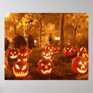 Happy Halloween Jack O Lanterns Poster