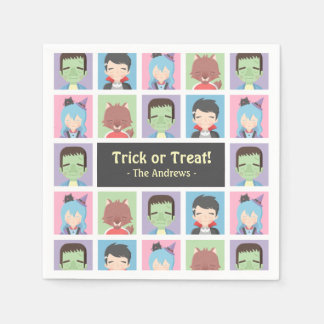 Happy Halloween Kid Monsters Pattern Party Napkins Paper Napkin