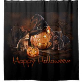 Happy Halloween Kittens Shower Curtain