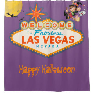 Happy Halloween Las Vegas Flying Witch Shower Curtain