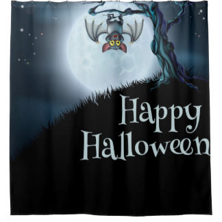 Happy Halloween Little Vampire Bat Shower Curtain