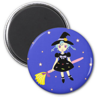 Happy Halloween Little Witch Girl Magnets