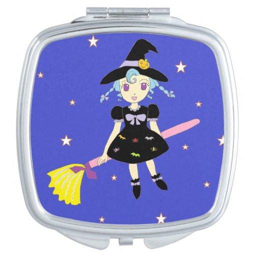 Happy Halloween Little Witch Girl Travel Mirror