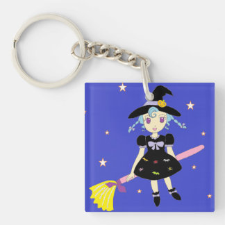 Happy Halloween Little Witch Girl Single-Sided Square Acrylic Key Ring