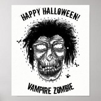 Happy Halloween -Mask Vampire Zombie Black/White Poster
