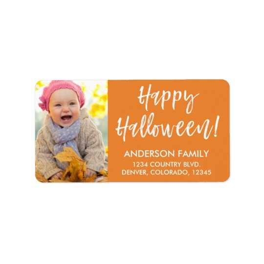 Happy Halloween Modern Halloween Photo Label