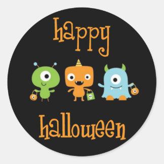 Happy Halloween monsters Classic Round Sticker