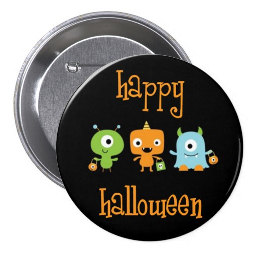 Happy halloween monsters large button
