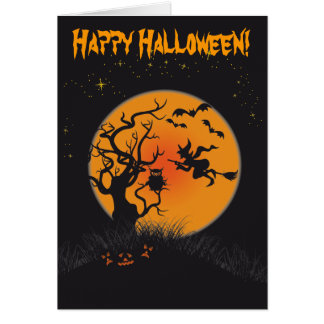 Happy Halloween Moon and Witch 2 Greeting Card