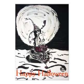 Happy Halloween Moonlight Witchy Mermaid Invite